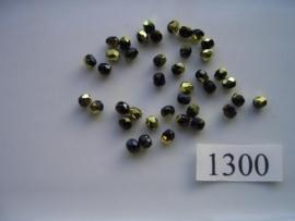 40 stuks tsjechische kristal facet geslepen glaskralen zwart met gouden coating 4mm 1300