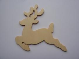 5999.W- houten ornament rendier van 9x8cm en 2mm dik OPRUIMING