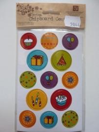 5944- Prima chipboard centers 13 stickers van 2 tot 2.5cm doorsnee feest OPRUIMING