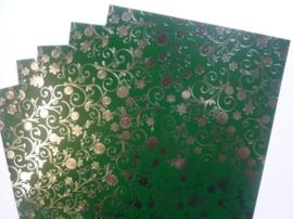 003077- 5 vellen fotokarton donkergroen/zilver A4-formaat 350grams OPRUIMING