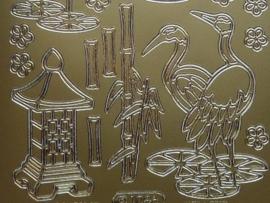 st788-A- stickervel japanse afbeeldingen goud