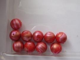 000174.A- 10 stuks kunststof kralen van 9mm fuchsia rood gemarmerd OPRUIMING