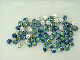 000529-30409- 72 stuks crystal rijgstrass / naaistrass SS30 6.4mm jetblack AB