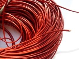 5 meter echt leren veter rood van 1.5mm dik - AA kwaliteit - SUPERLAGE PRIJS!