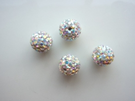 3982- 4 stuks AA+ strassballen crystal AB 10mm - SUPERLAGE PRIJS