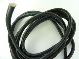 2 meter  leren veter van 5.5mm  dik zwart - AA+ kwaliteit