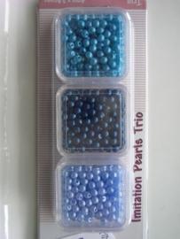 CE460120/0315- ca. 600 stuks kunststof parels 3mm l.blauw/d.blauw/turqoise