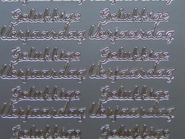 594- gelukkige verjaardag zilver 10x20cm