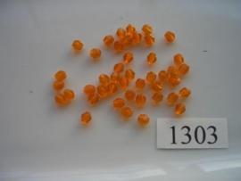 40 stuks tsjechische kristal facet geslepen glaskralen oranje 4mm 1303