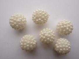3999- 6 stuks strassballen 14mm wit AB