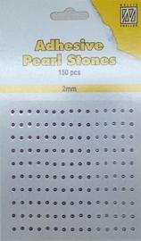 CE142010/2206- 150 stuks zelfklevende halfronde parels van 2mm paars tinten