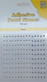 CE142010/2307- 150 stuks zelfklevende halfronde parels van 3mm wit/ivoor tinten