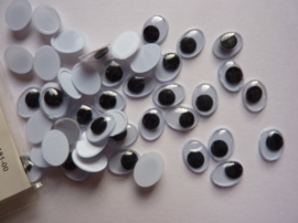 89.181.00- 80 stuks ovale beweegbare wiebeloogjes / plakoogjes van 10x8mm