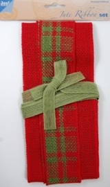 JOY6300/0502- 3.5 meter jute ribbon set rood / groen