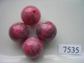 7535- 18mm licht paarse kunststofkraal marmer