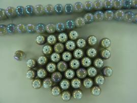3707- ca. 40 stuks glaskralen van 8mm grijs met high gloss glans coating