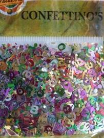 003036- confettino`s - zeer groot aantal cijfers van 7mm hoog in diverse kleuren