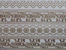 st708- sticker met diverse randjes tot 18mm breedt wit 10x20cm