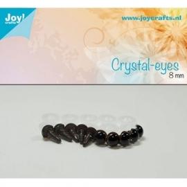 Joy6300/0605- 10 stuks kristal ogen 8mm bruin