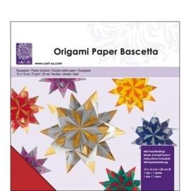 1858 5206- 30 vel origami bascetta papier 2-zijdig gekleurd rood/groen 15x15cm