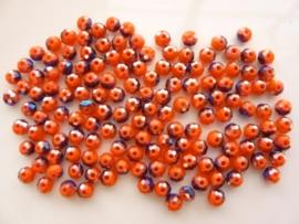 3924- ca. 145 stuks geslepen glaskralen van 4x3mm rood met blauwe AB - SUPERLAGE PRIJS!