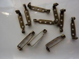 26 mm - 10 stuks broche speldjes geelbrons kleur met veiligheids sluiting