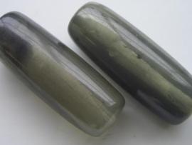 117465/4512- resin kraal 43x16mm gewolkt donker grijs
