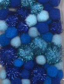 CE800600/3303- 50 stuks pompoms van 2 tot 3.5cm lichtblauw/donkerblauw glitter