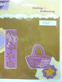 0002348- Joy0085- stencil mand met bloemen (mand is 5x6cm) OPRUIMING