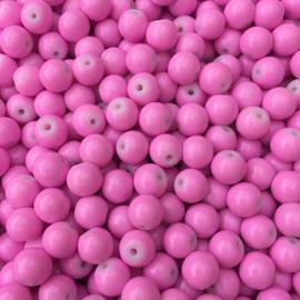NA.13- 25 stuks glaskralen baking painted 8mm opak zuurstok roze