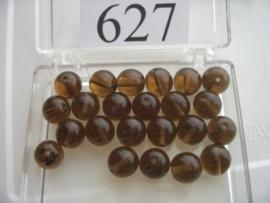 20 stuks 627 Ronde glaskraal 8 mm. midden bruin