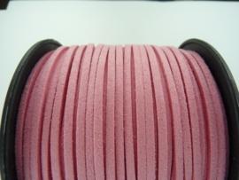 3 meter imitatie suede veter van 3mm breed roze