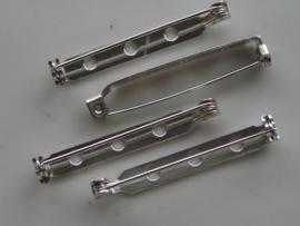 38mm - 4 stuks brochespeldjes staalkleur met veiligheids sluiting