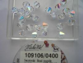 109106/0400 - 12 x swarovski 6mm kristal AB -AANBIEDING -