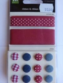 5700- Making Memories ribbon & brads red/denim OPRUIMING