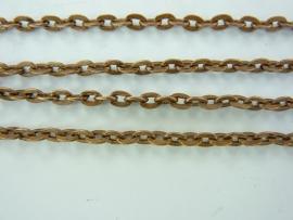 3841- 2 meter ketting/jasseron 3.5x2.2mm schakels roodkoper