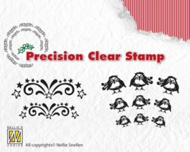 CE130510/1916- Nellie's Choice precision clearstamp Xmas starbust-robin APST016