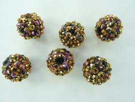 3986- 6 stuks strass ballen van 15mm bruin/paars AB