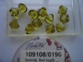 109108/190 - 12 x swarovski 8mm limoen geel