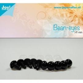 Joy6300/0615- 10 stuks bean ogen 14mm zwart