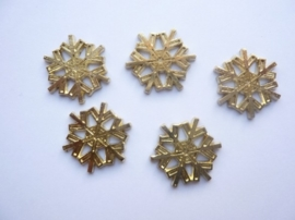 0005220.5- 5 stuks metalen charms ijskristal van ca.2.5cm goudkleur OPRUIMING