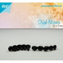Joy6300/0632- 10 stuks ovale neuzen 12x9mm zwart