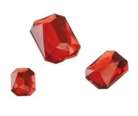 2282 420- 80 x kunststof strass stenen assortiment rechthoeken van 8/10/13mm rood