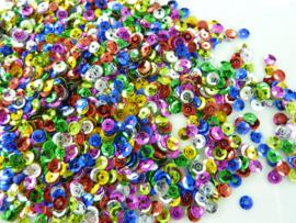 118372/650- 10gram (is grote hoeveelheid) facon pailletten van 4mm kleurenmix metaal
