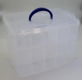 JOY6200/0079- opberg box 3-laags met 30 vakken 24x18.3x15cm