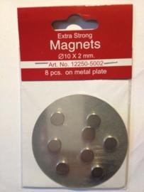 TH12250-5002- 8 stuks supersterke magneten op metalen plaatje van 10cm