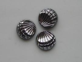 5150- 3 x glas schelp 13.5mm metallic grijs
