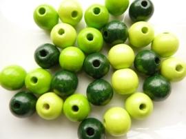 KN6021 420- 28 stuks houten kralenmix 12mm groen tinten
