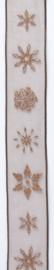 CE544344/2575- 10 meter lint met bruine ijskristallen 25mm breed