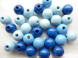 KN6021 340- 28 stuks houten kralenmix 12mm blauw tinten